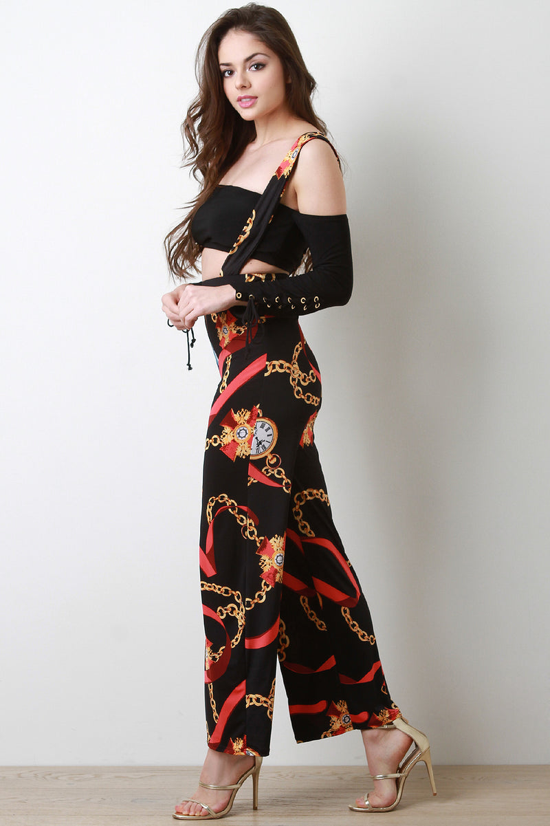 Chain Clock Print Wide Leg Overall Pants