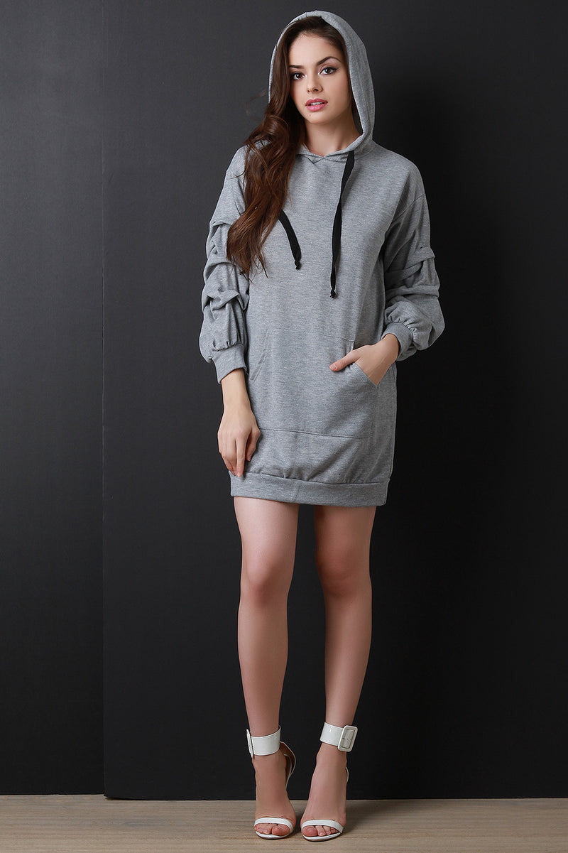 French Terry Ruched Statement Sleeve Hoodie Dress