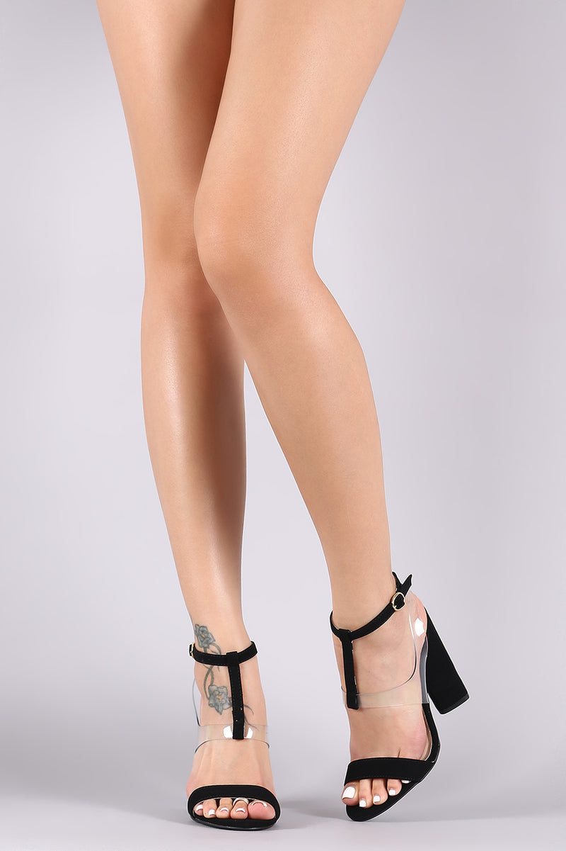 Qupid Nubuck Mid T-Strap Clear Vamp Open Toe Chunky Heel