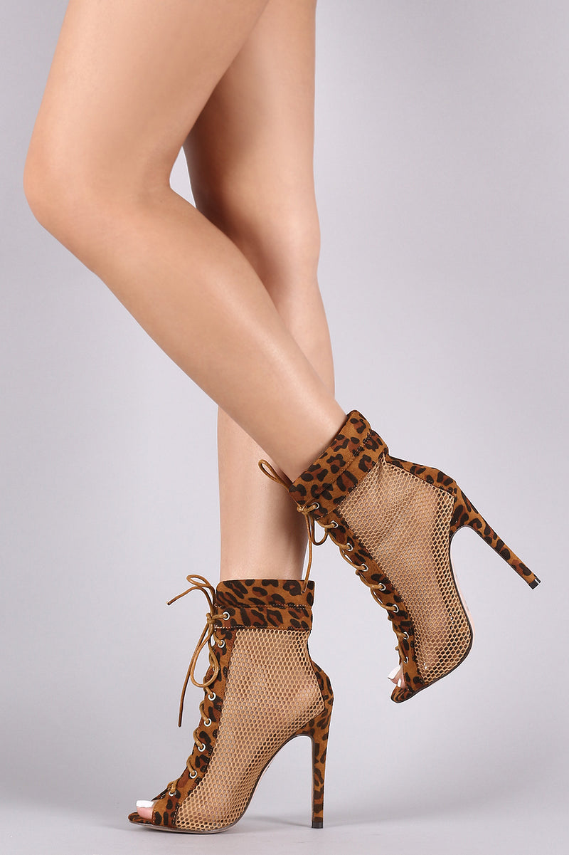 Netted Mesh Leopard Peep Toe Lace-Up Stiletto Booties