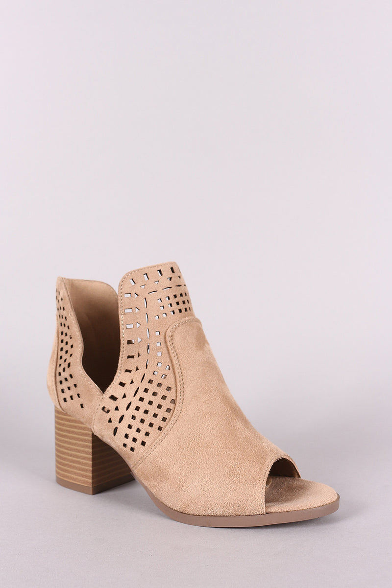 Perforated Suede V-Cut Chunky Heeled Ankle Boots