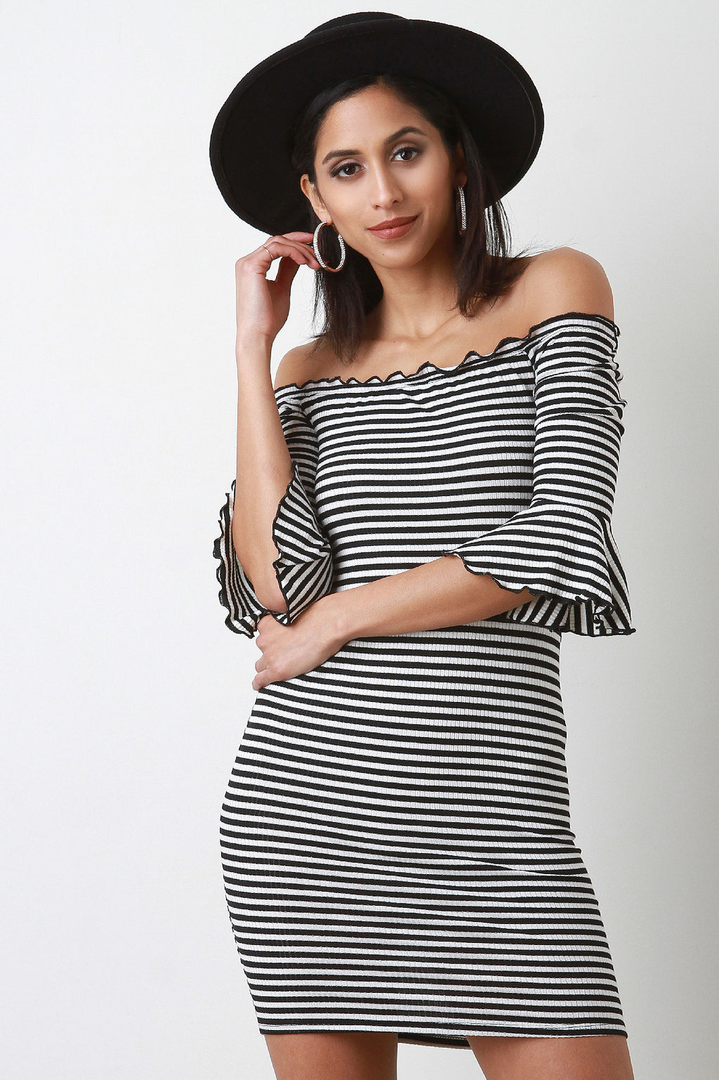 Stripe Ribbed Knit Trumpet Sleeve Bodycon Dress