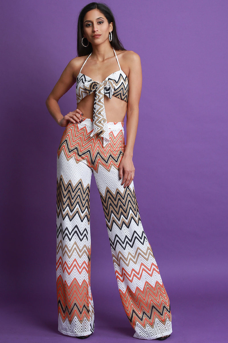 Chevron Crochet Bandeau Top with Palazzo Pants Set