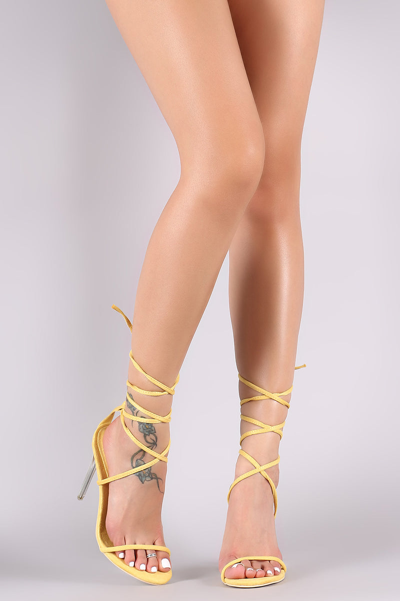 Suede Strappy Leg Wrapped Clear Stiletto Heel