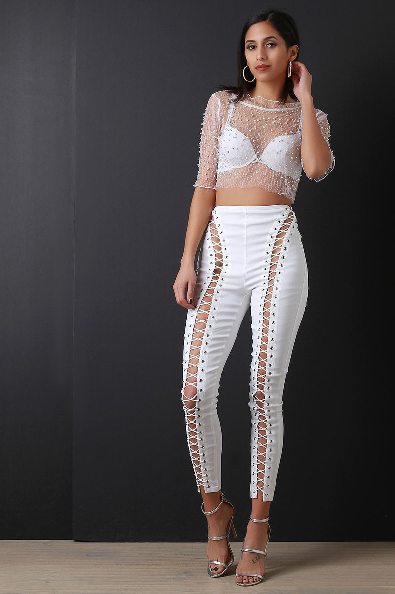 Lattice Mesh Pearl Studs Crop Top