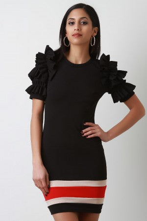 Colorblock Tiered Ruffled Sleeve Dress