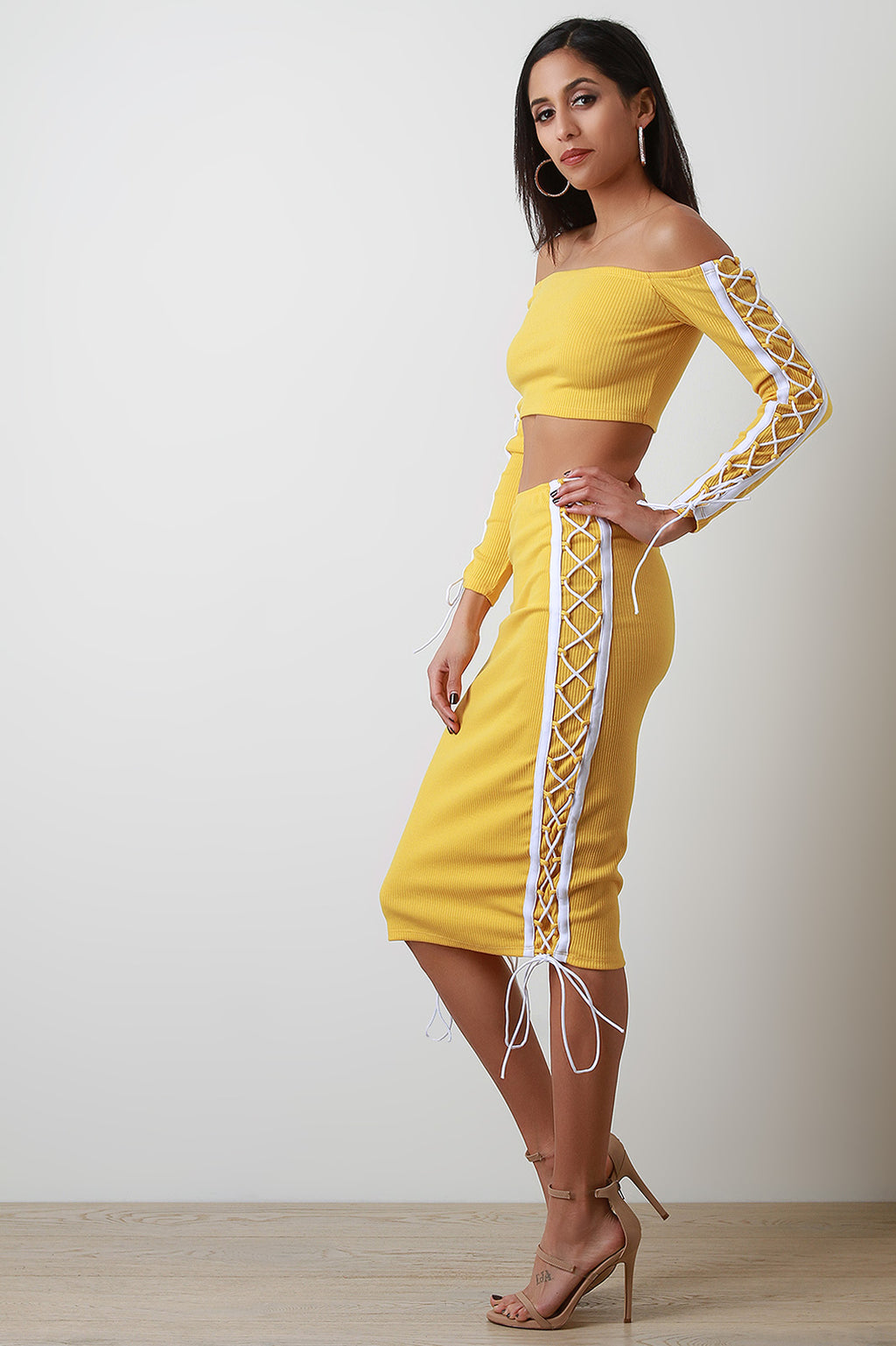 Side Lace Up Crop Top With High Waisted Midi Skirt Set