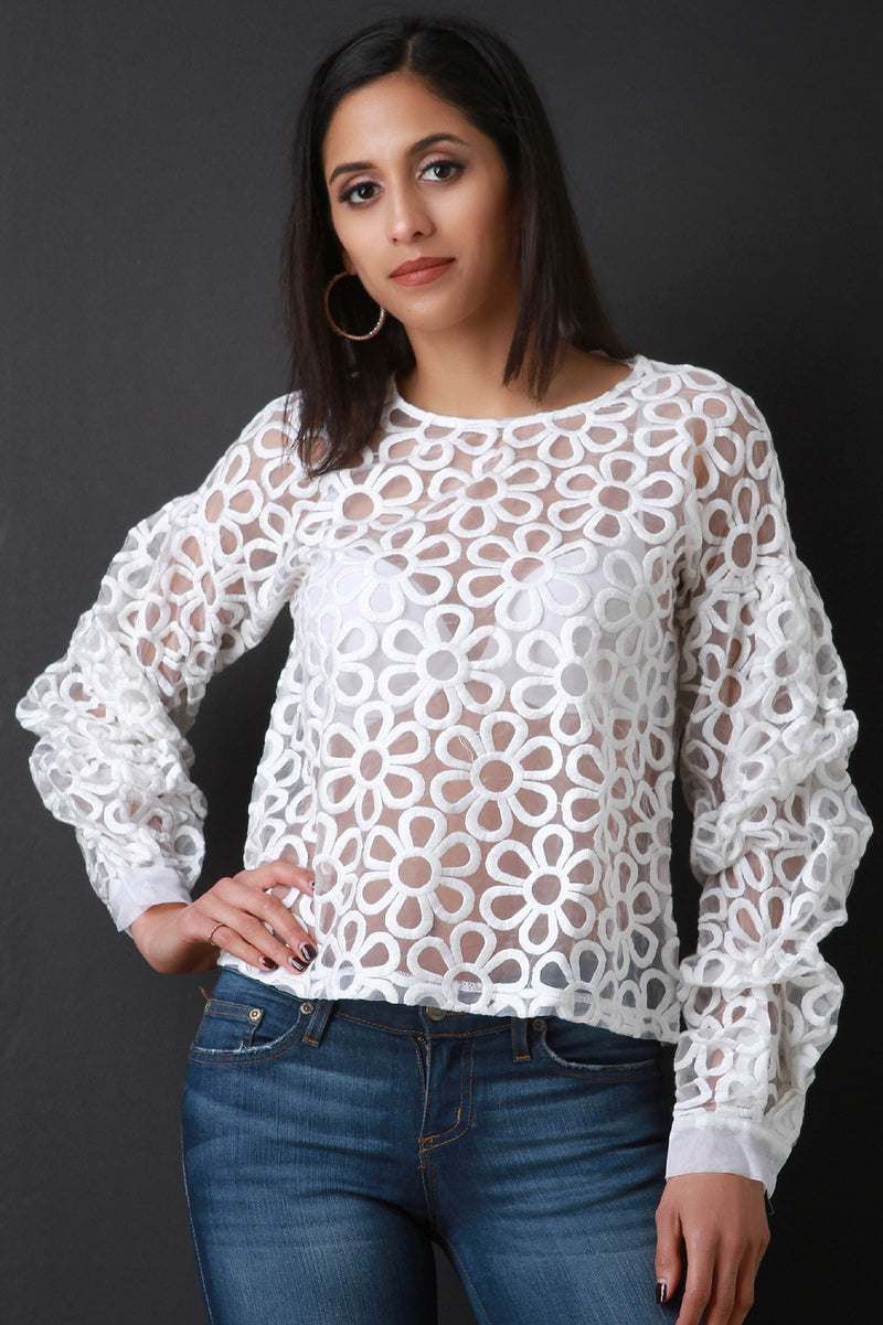 Daisy Topstitch Sheer Statement Sleeve Top