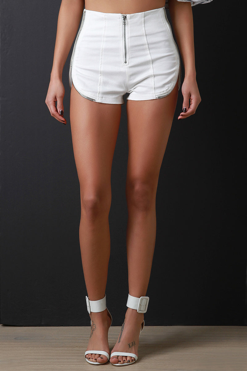 Zipper Runner Hem High Rise Shorts