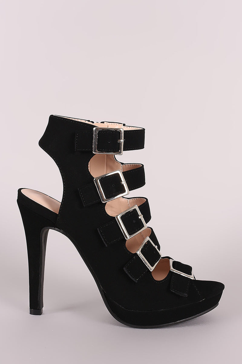 Strappy Nubuck Square Buckle Open Toe Platform Stiletto Heel