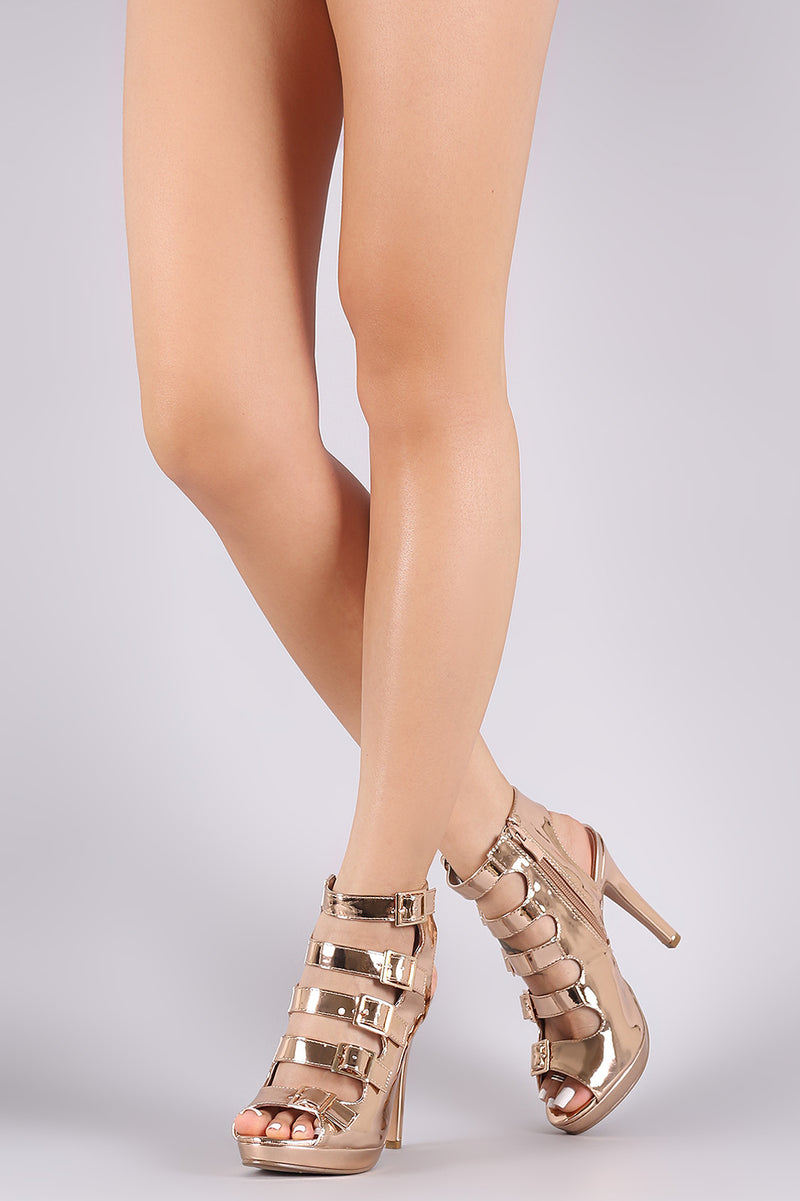 Strappy Metallic Square Buckle Open Toe Platform Stiletto Heel