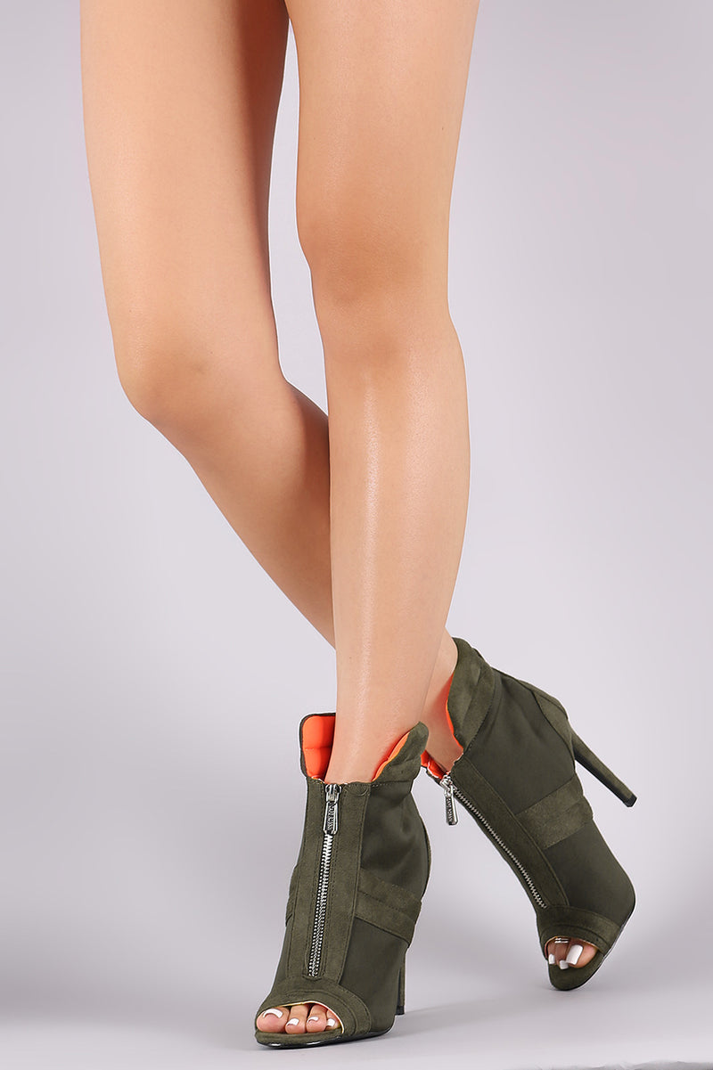 Quilted Suede Front Zip-Up Stiletto Ankle Boots