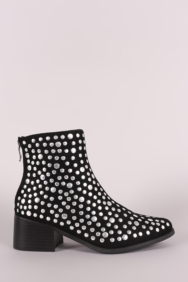 Studded Suede Almond Toe Chunky Heeled Ankle Booties