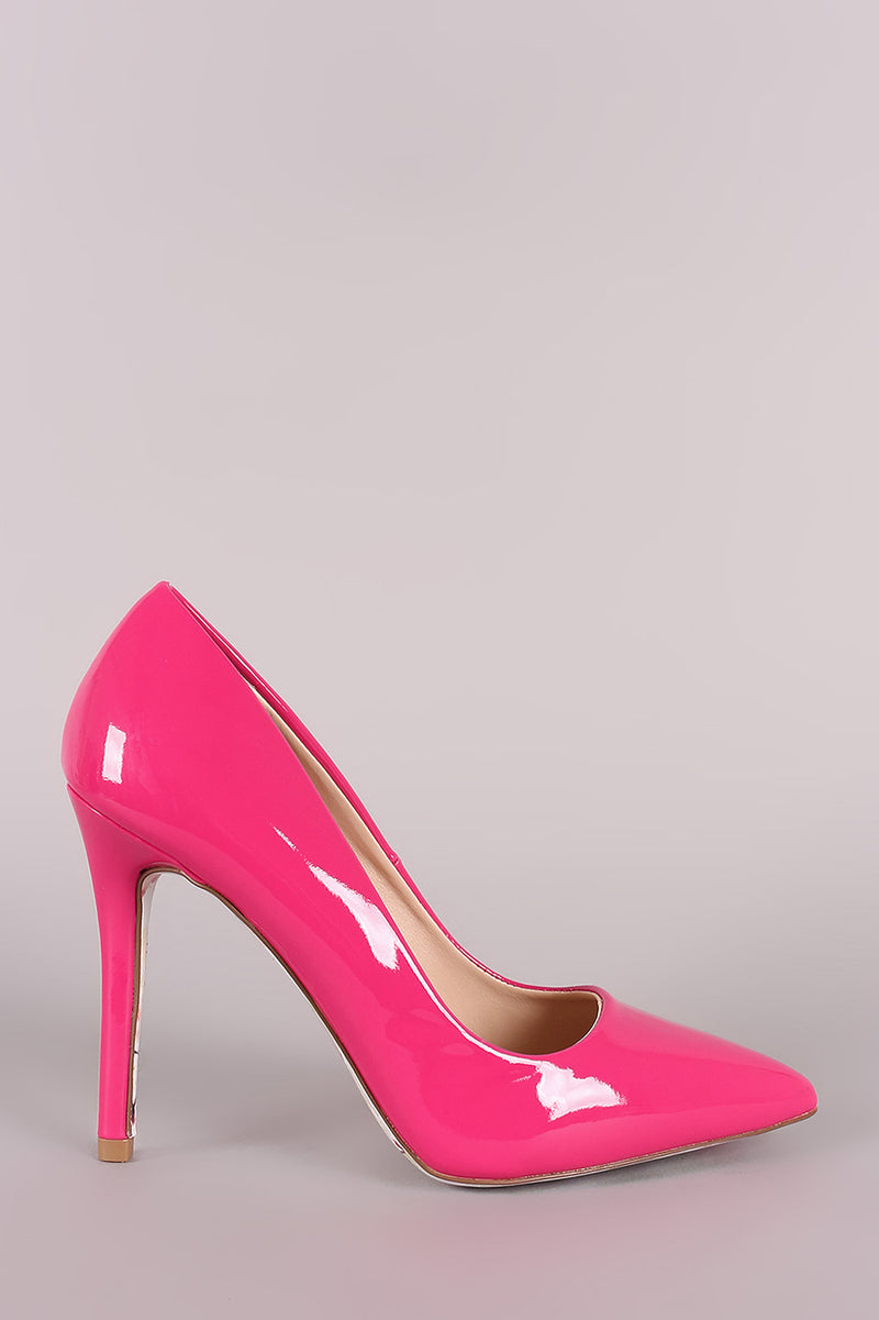 Qupid Patent Pointy Toe Floral Outsole Pump