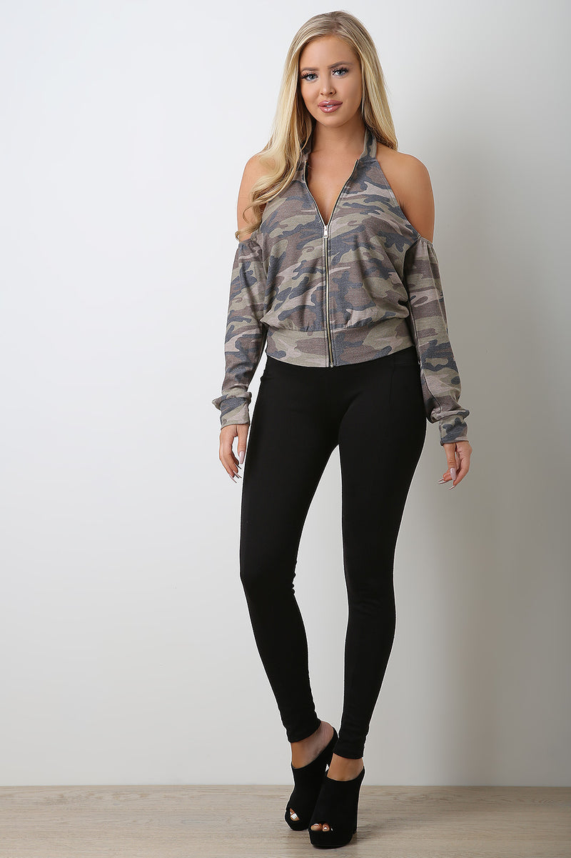 Zip-Up Cold Shoulder Camo Top