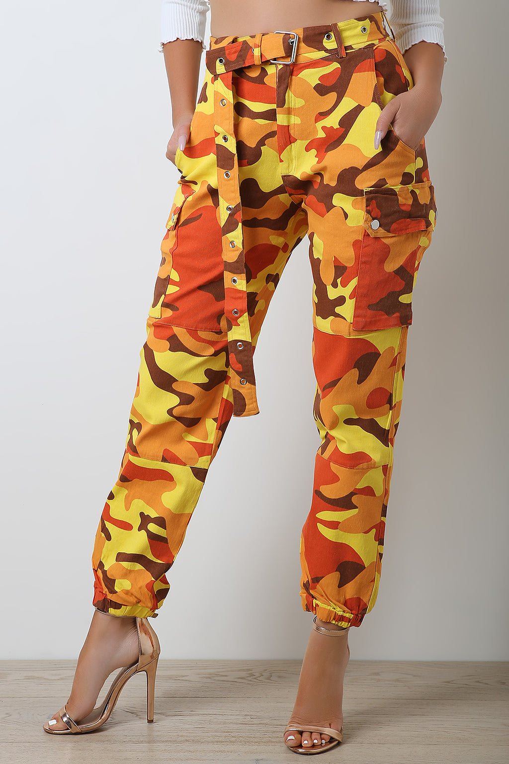 Camo Cargo Belted Jogger Pants.