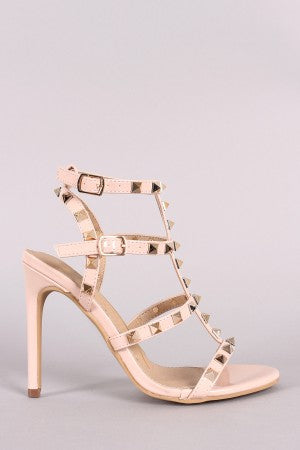 Patent Studded T-Strap Open Toe Stiletto Heel