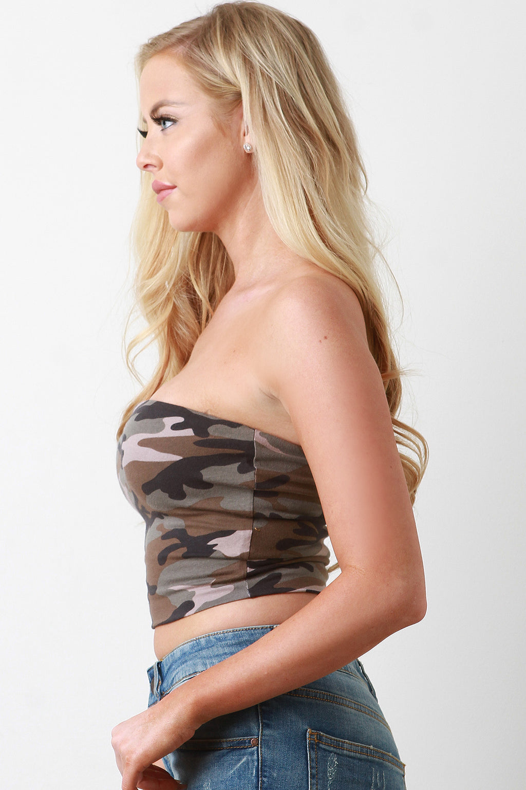 Camo Tube Top Crop Top
