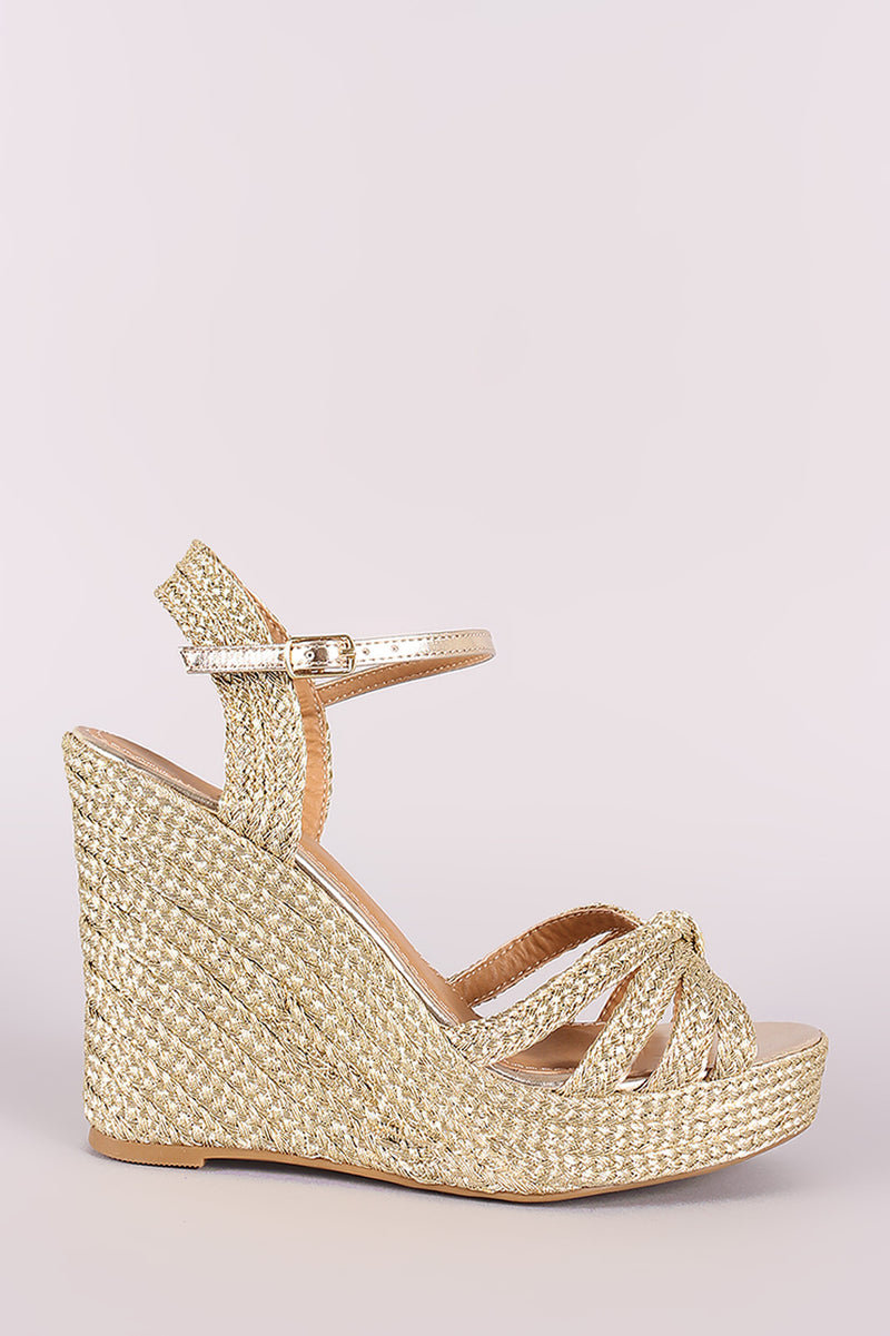 46d3d75ed8d Bamboo Strappy Knotted Espadrille Platform Wedge