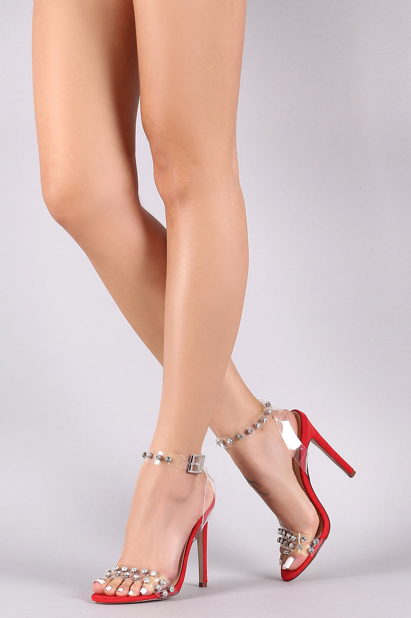 Rhinestone Transparent Ankle Strap Open Toe Heel