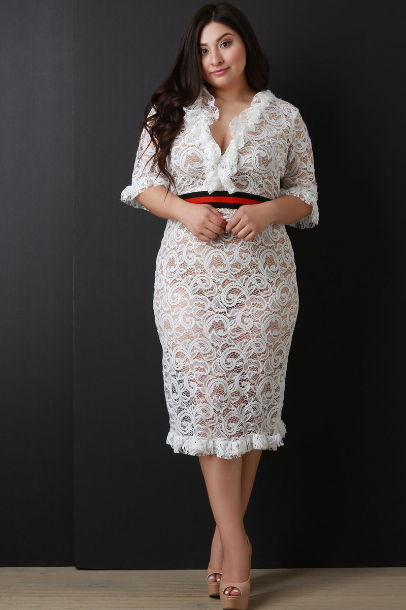 Ruffle Trim Semi-Sheer Lace Elastic Waistband Midi Dress