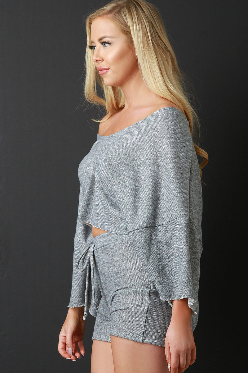 Off-The-Shoulder Terry Cloth Crop Top with Shorts Set