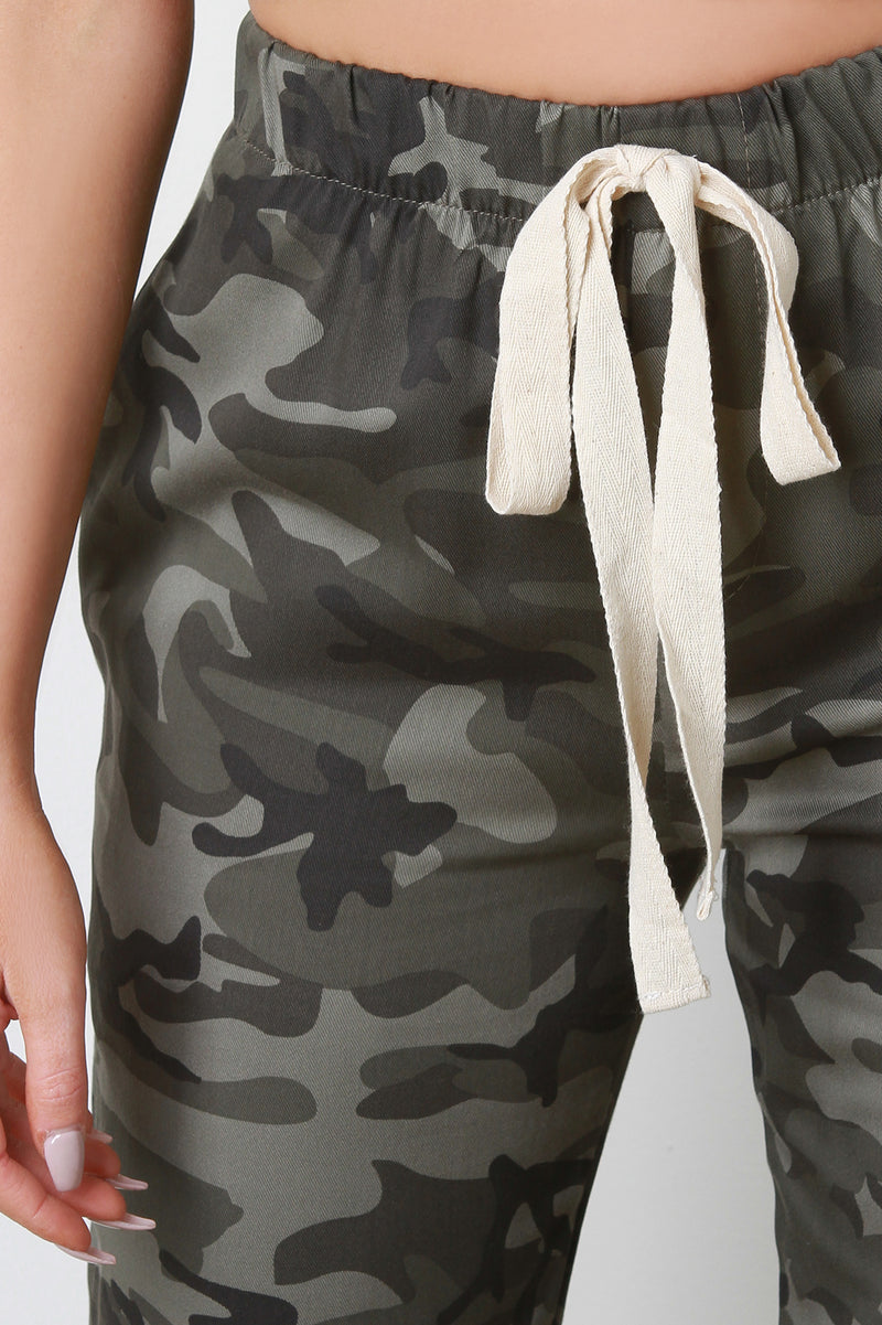 Camouflage High Waisted Drawstring Jogger Pants.