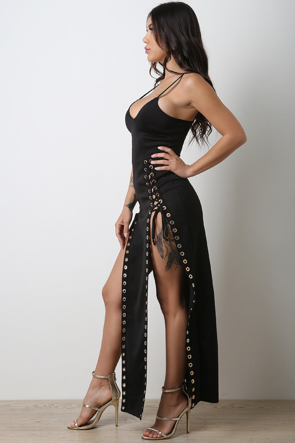 Eyelet Lace Up Double Slit Maxi Dress