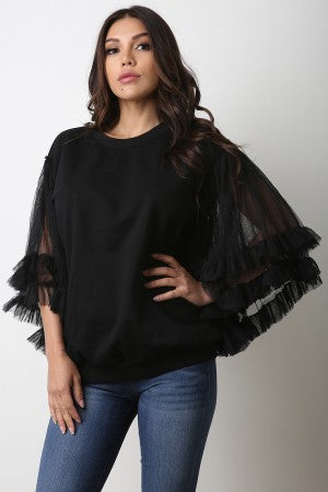 Ruffle Tulle Statement Sleeve Sweater Top