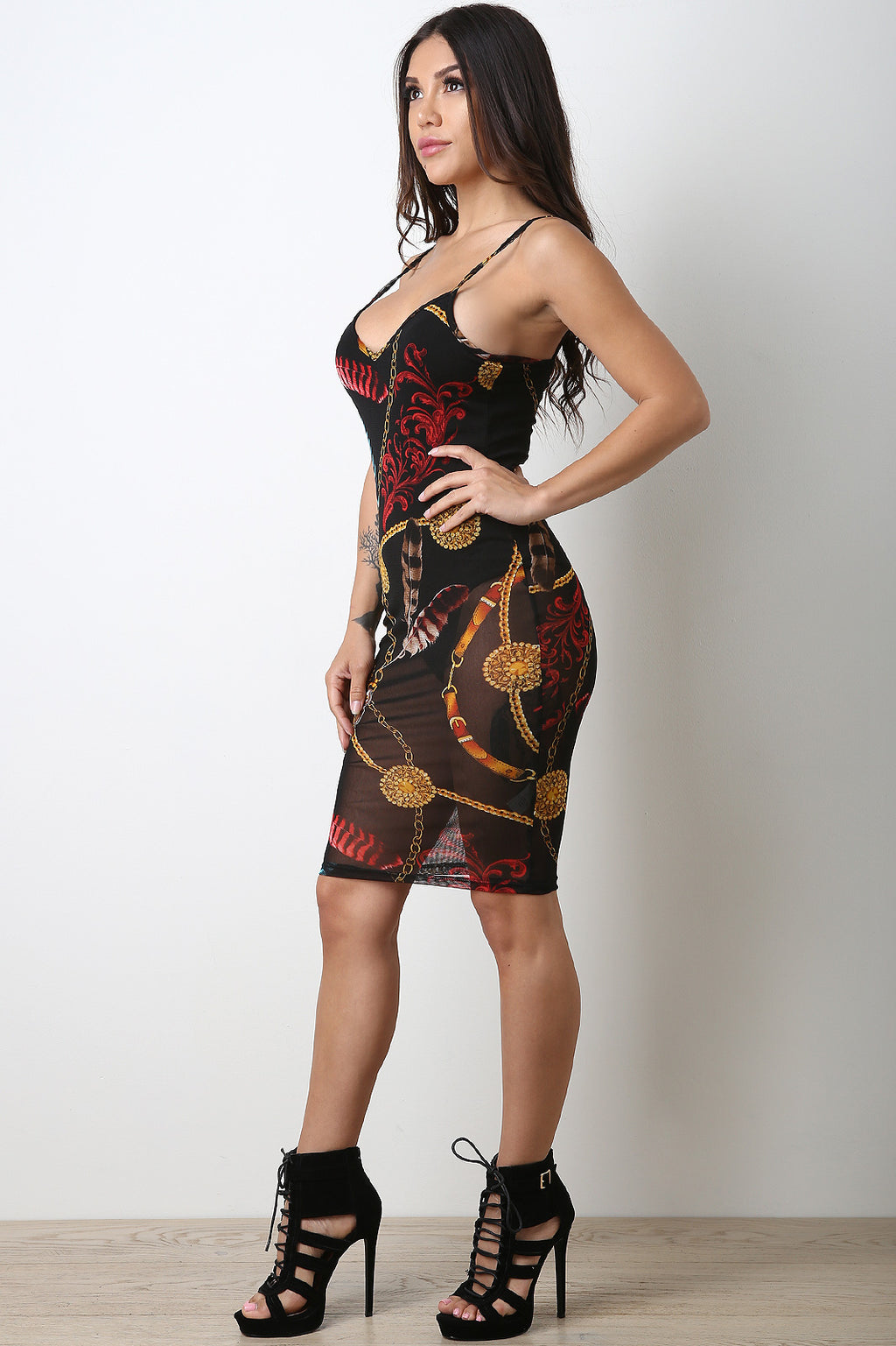 Feather Print Mesh Bodycon Dress