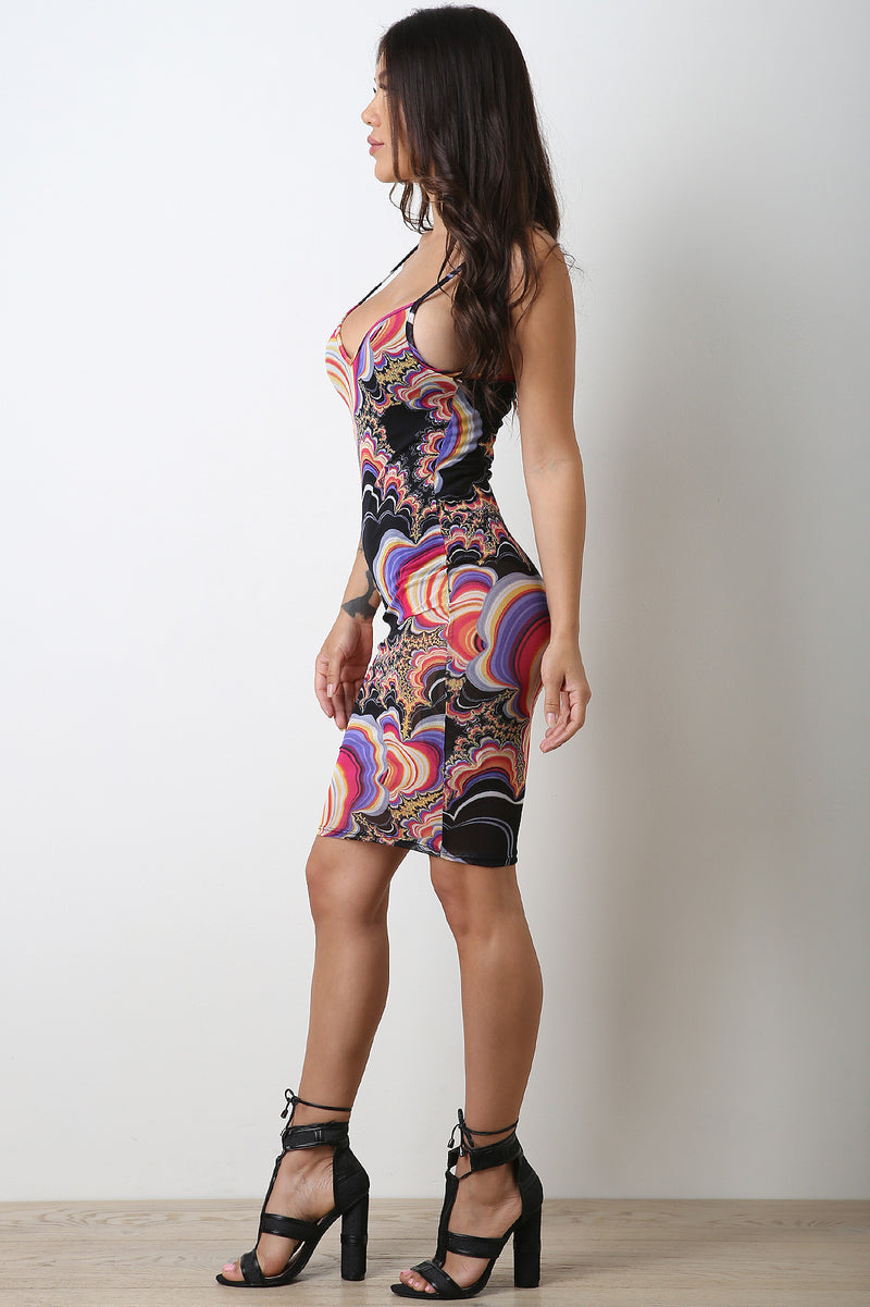 Marble Swirl Mesh Bodycon Dress