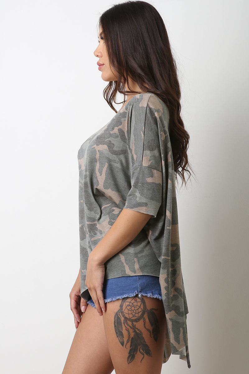 Boxy Camo Dolman Sleeve Top