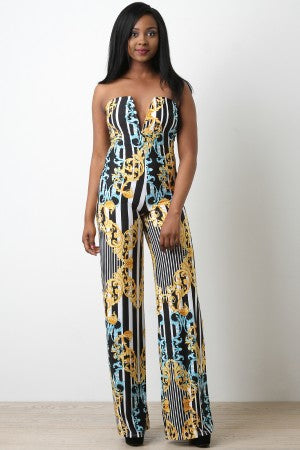 Striped Filigree Sweetheart Tube Jumpsuit