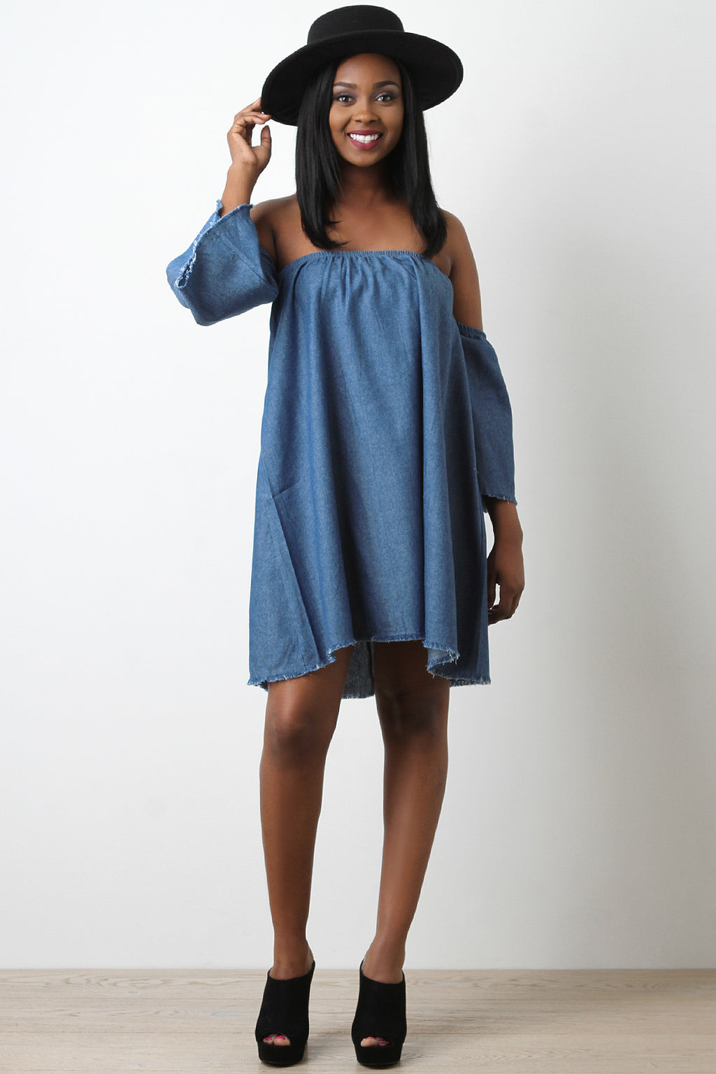 Chambray Bardot Trapeze Dress