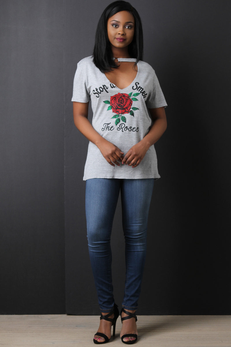 Stop And Smell The Roses Graphic Print Tee