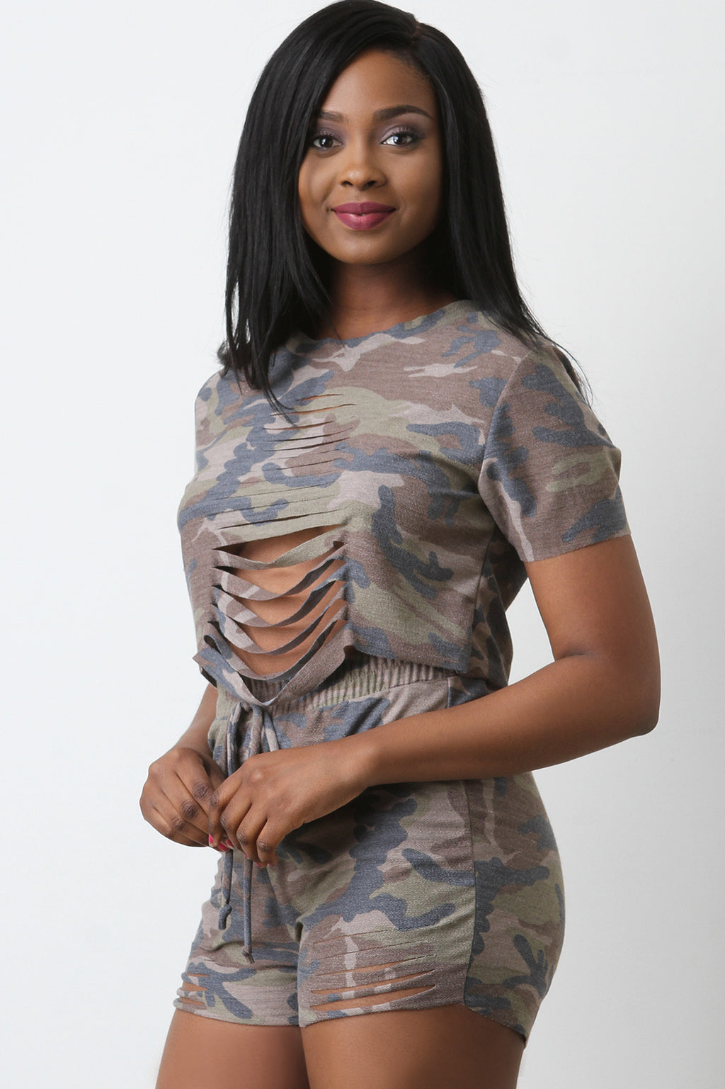 French Terry Camouflage Slashed Top With Shorts Set