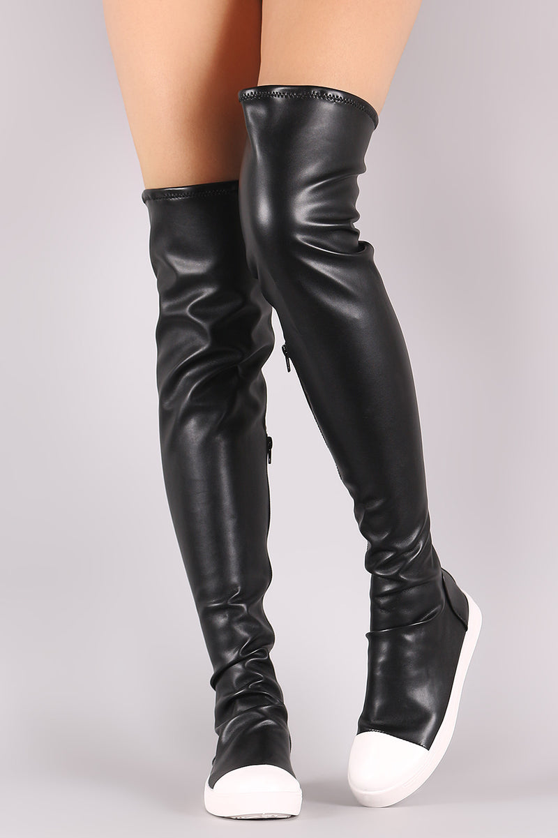 Bamboo Contrast Cap Toe Over-The-Knee
