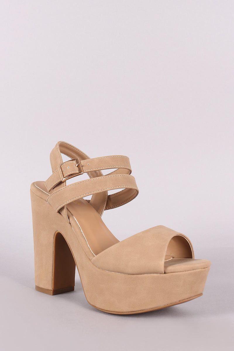 febeec50d98 Bamboo Double Ankle Strap Platform Chunky Heel