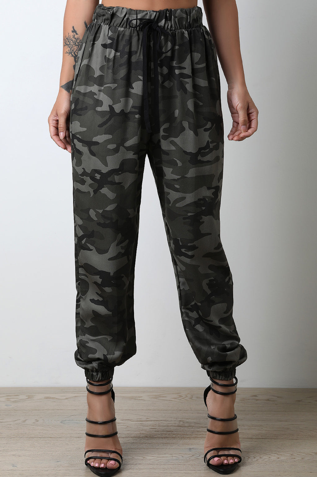 Camouflage High Waisted Jogger Pants