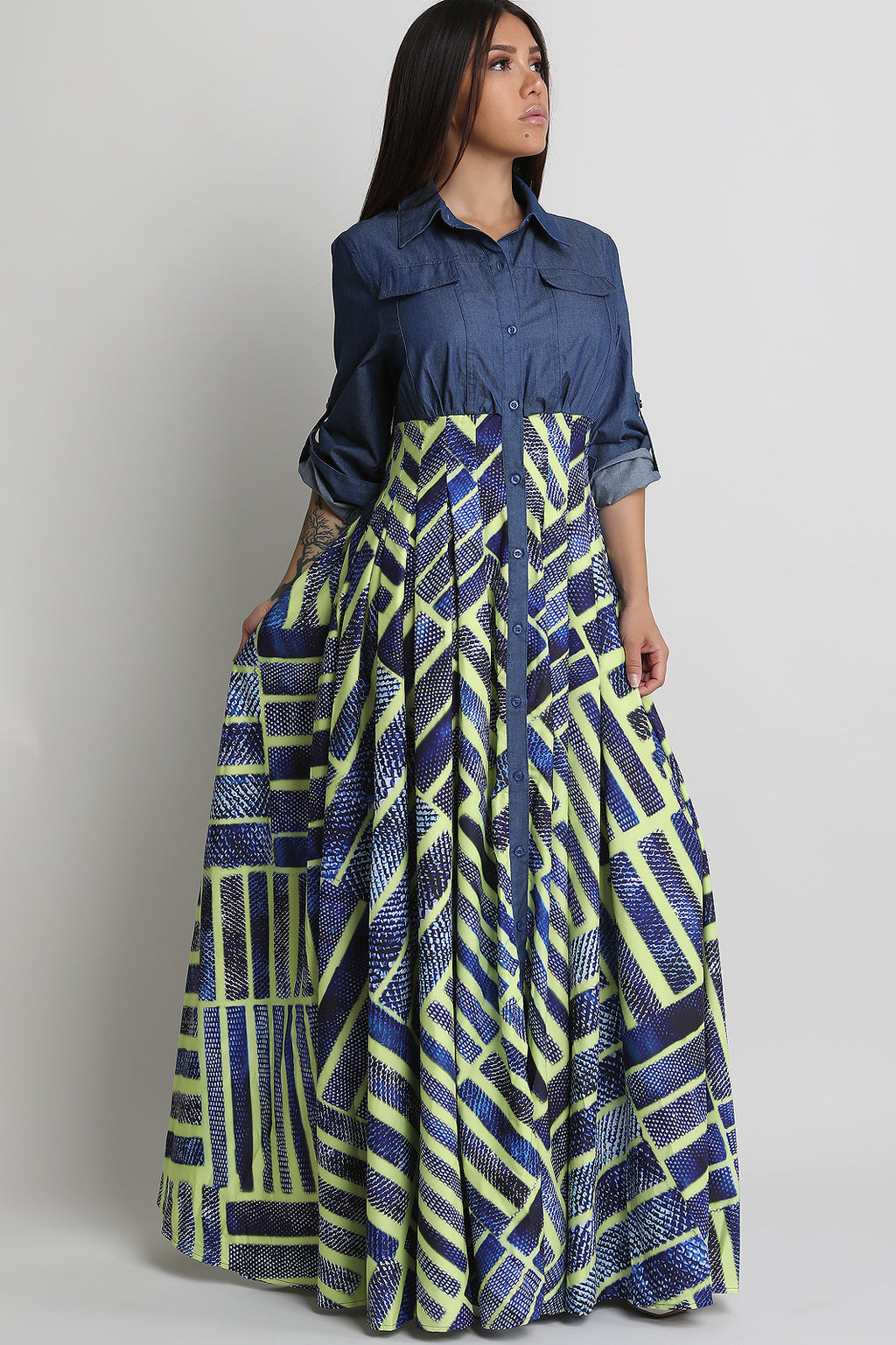 Geo Pattern Contrast Button-Up Chambray Maxi Dress