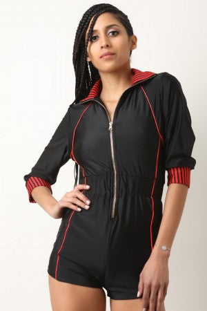 Sporty Zip-Up Stripe Trim Romper