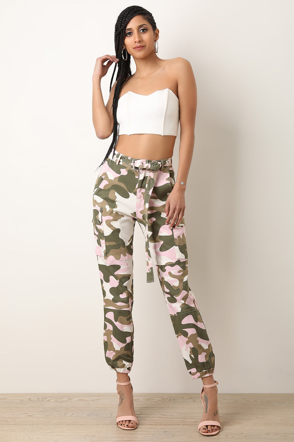 High Rise Camouflage Eyelet Belted Cargo Pants