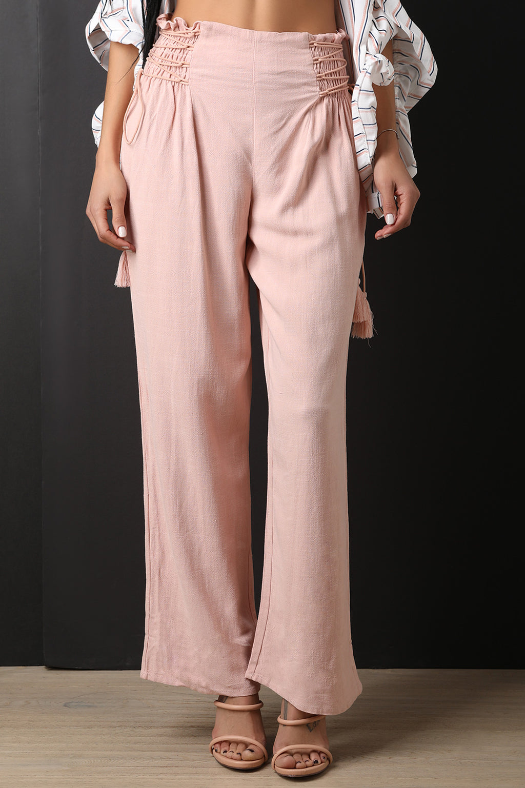 High Rise Smocked Lace Up Flared Pants