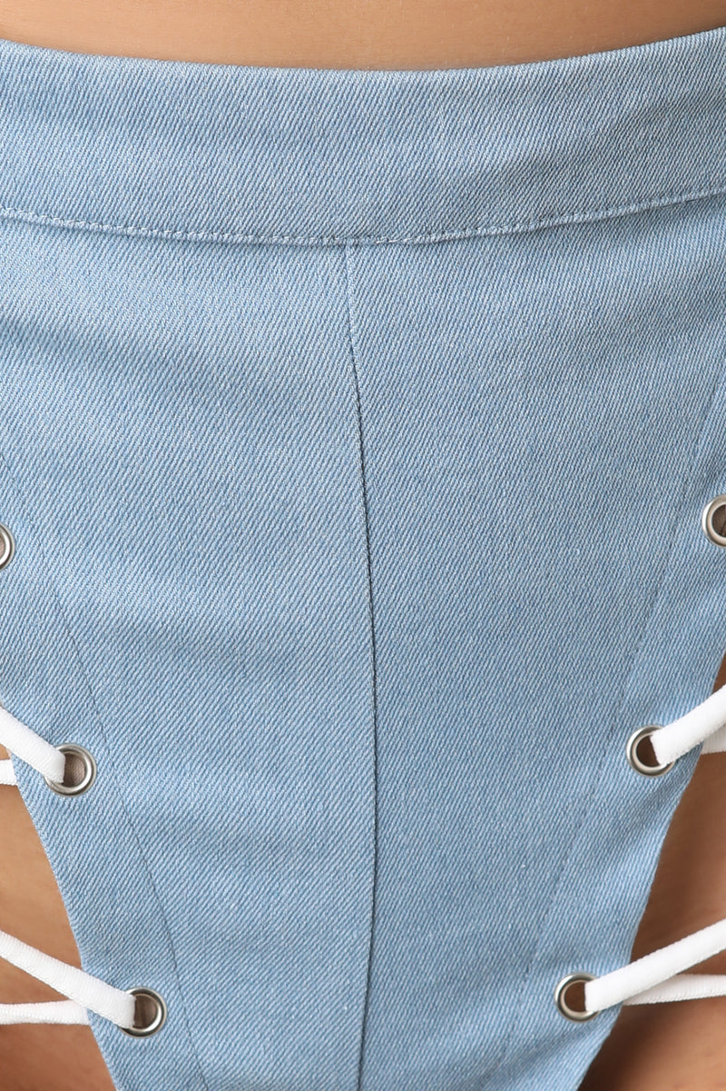 Denim High Rise Lace-Up Shorts