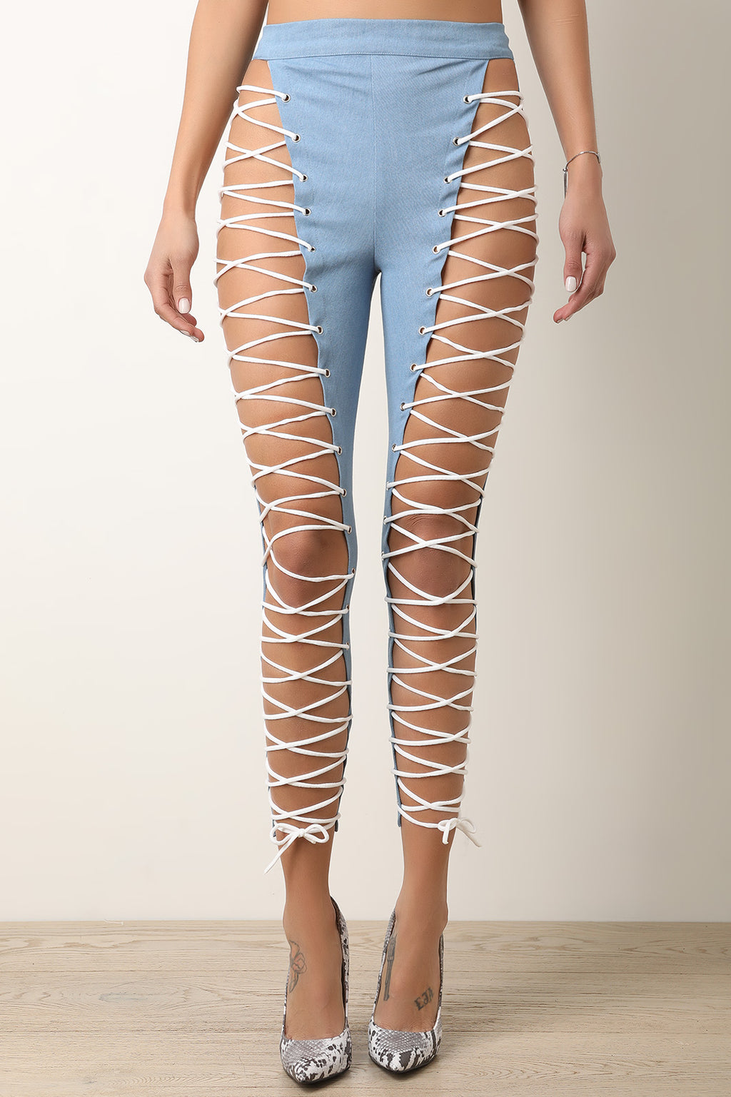 Lattice Lace-Up High Waisted Pants