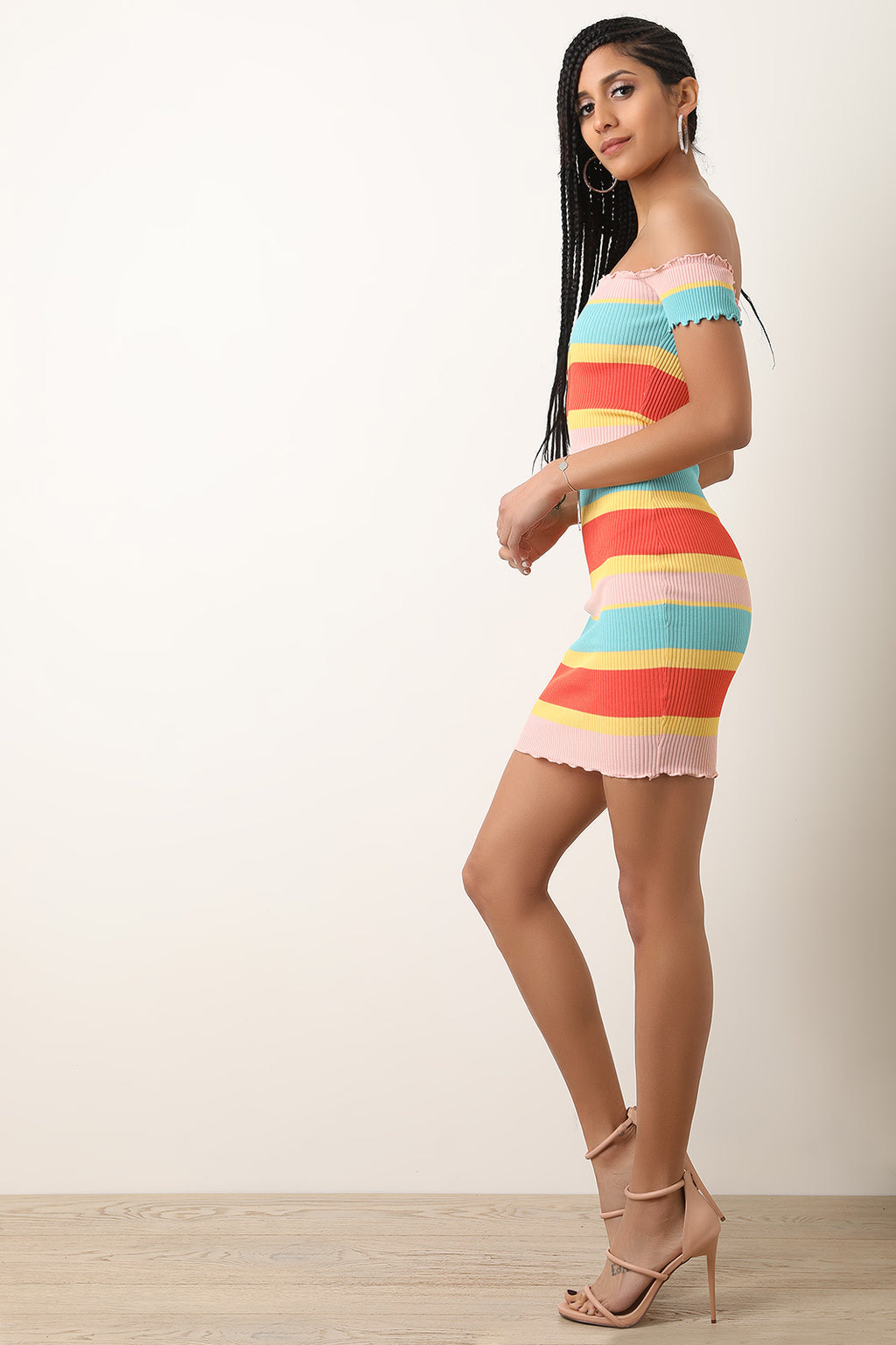 Colorful Striped Ribbed Knit Ruffled Bardot Dress