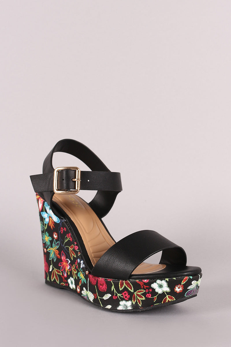 Bamboo Vegan Leather Open Toe Floral Platform Wedge