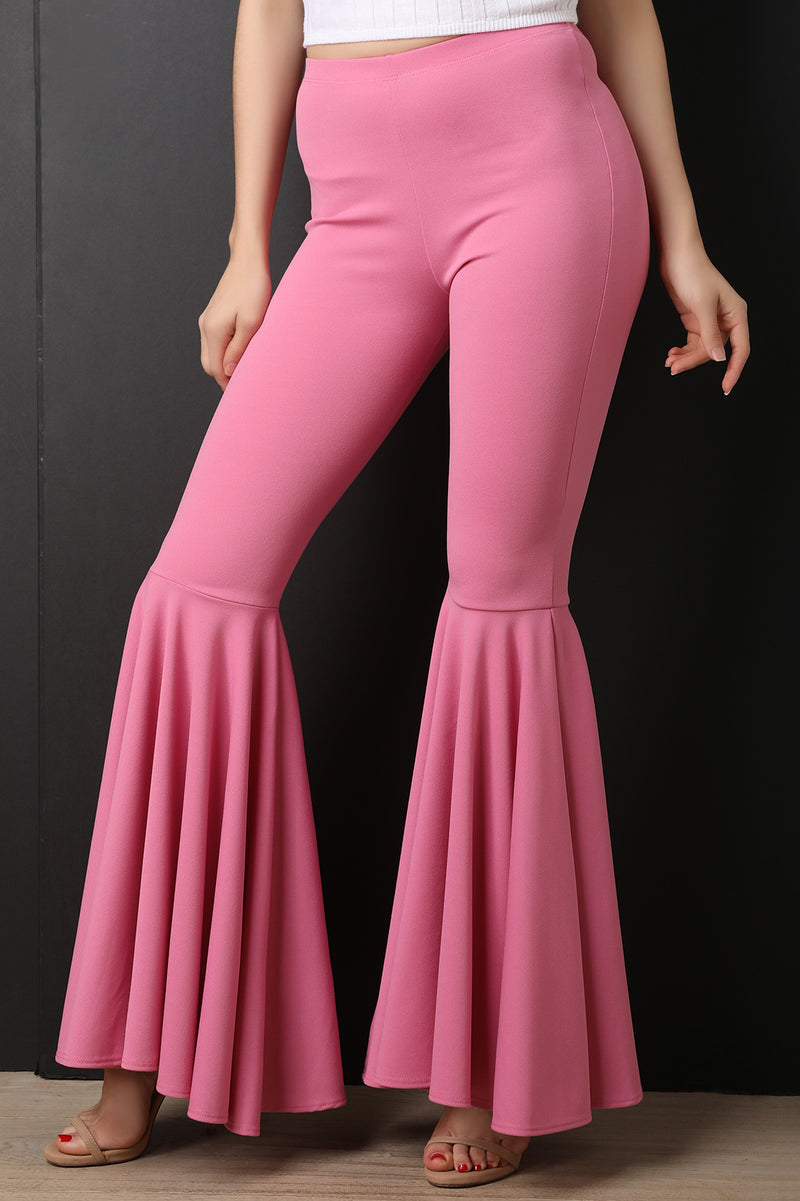 High Waist Ruffle Flared Pants