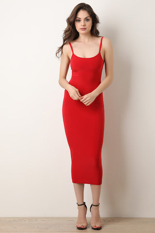 Square Neck Button-Down Bodycon Dress