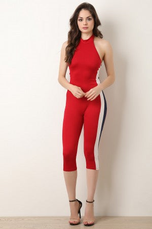Side Striped Halter Capri Catsuit Jumpsuit